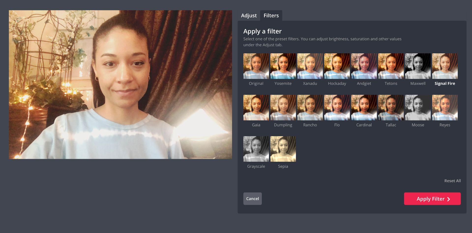 captura de pantalla de un filtro en Kapwing