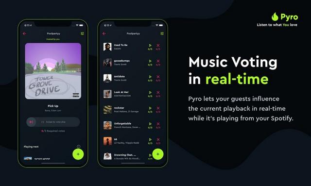 Aplicación Pyro para fiestas de Spotify