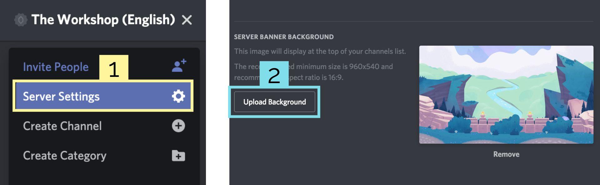 Capturas de pantalla que muestran cómo cargar una imagen de banner de fondo del servidor en Discord.
