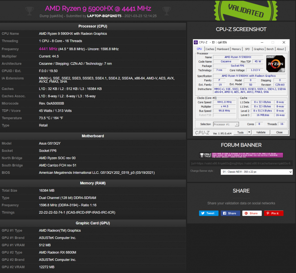 Portátil ASUS ROG STRIX G15 con GPU AMD Radeon RX 6800M RDNA 2 y CPU AMD Ryzen 9 5900HX