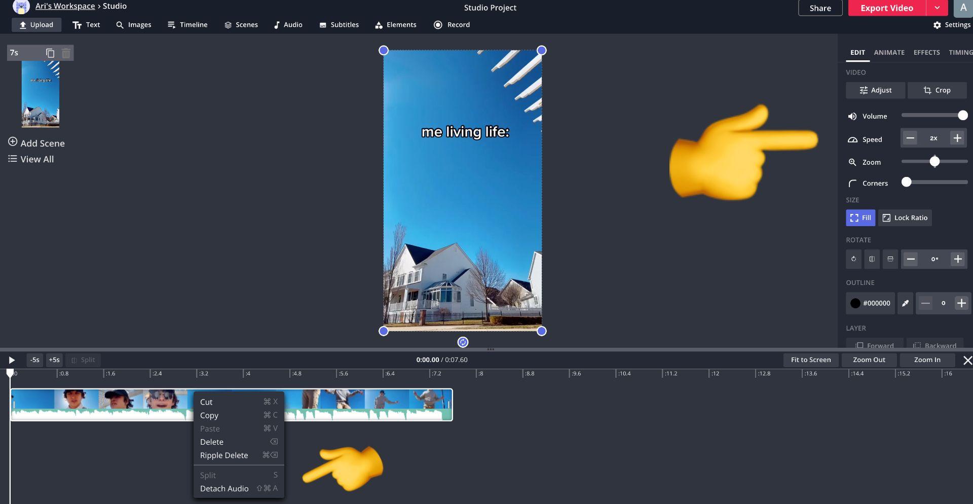 captura de pantalla de un video de TikTok en el estudio Kapwing con emojis apuntando al cambiador de velocidad y desconectando el audio