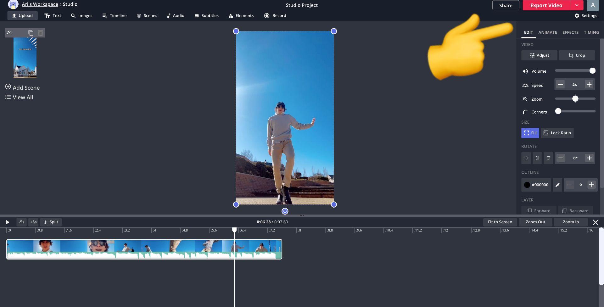 captura de pantalla del estudio Kapwing con un emoji que apunta a exportar video