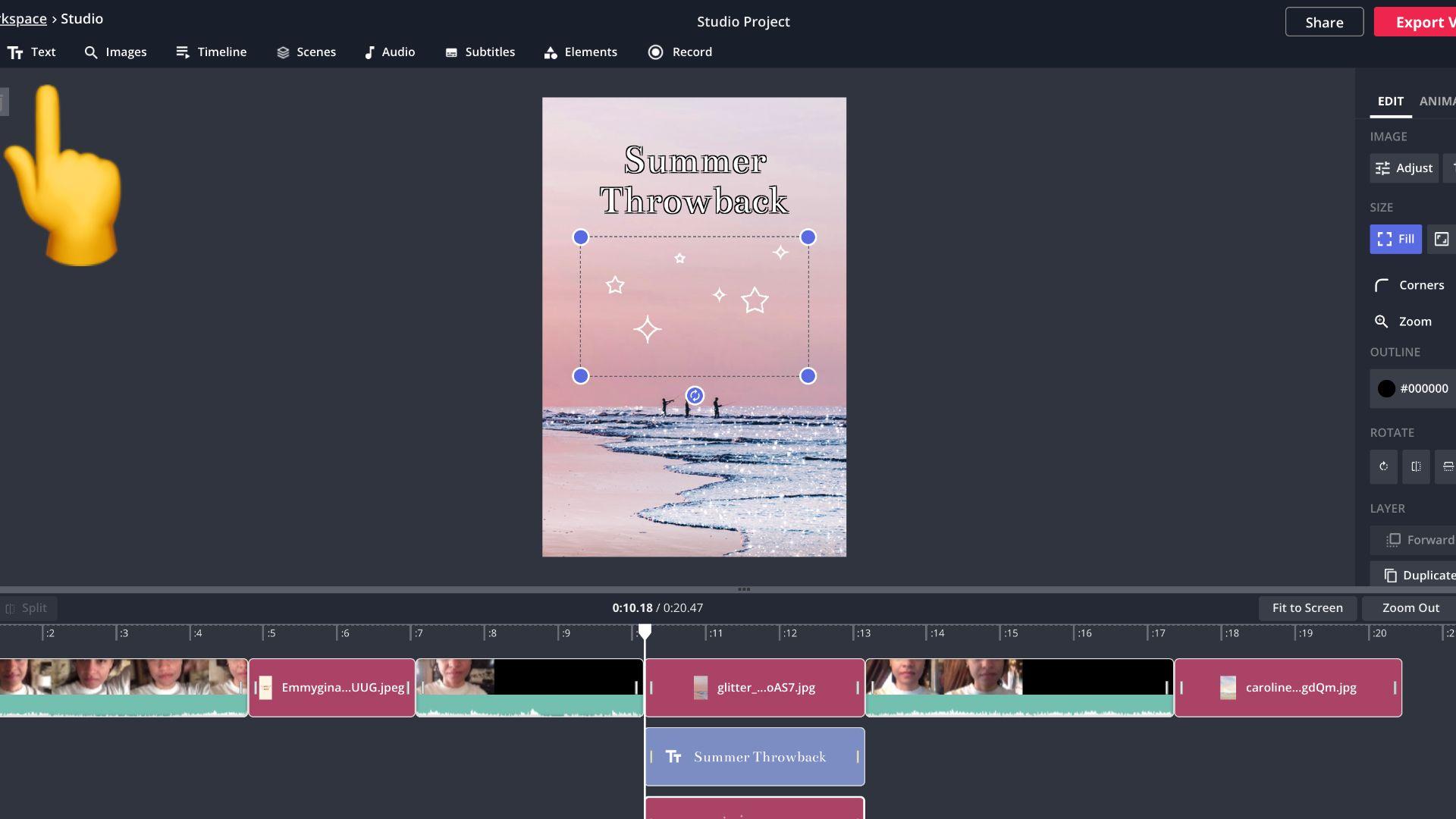 captura de pantalla de Kapwing Studio con un emoji de dedo apuntando a la pestaña de texto