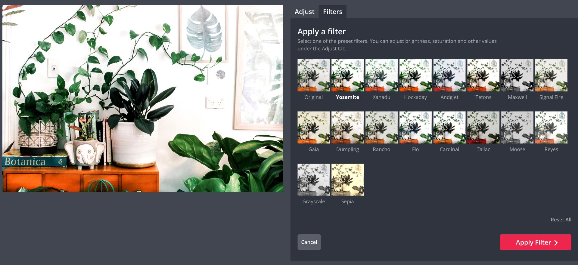 captura de pantalla de filtros en Kapwing