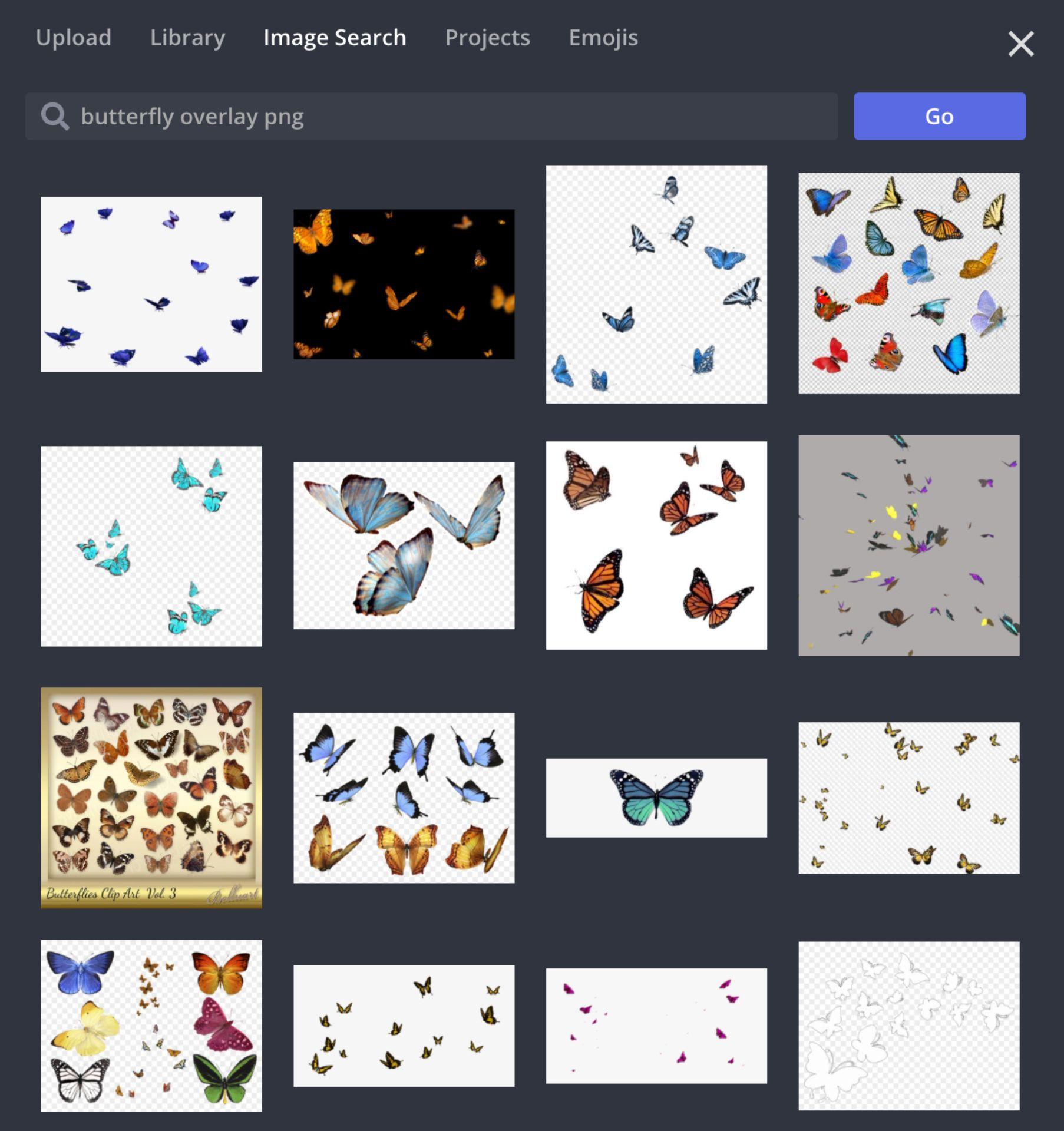 captura de pantalla de la pestaña de búsqueda de imágenes en Kapwing Studio