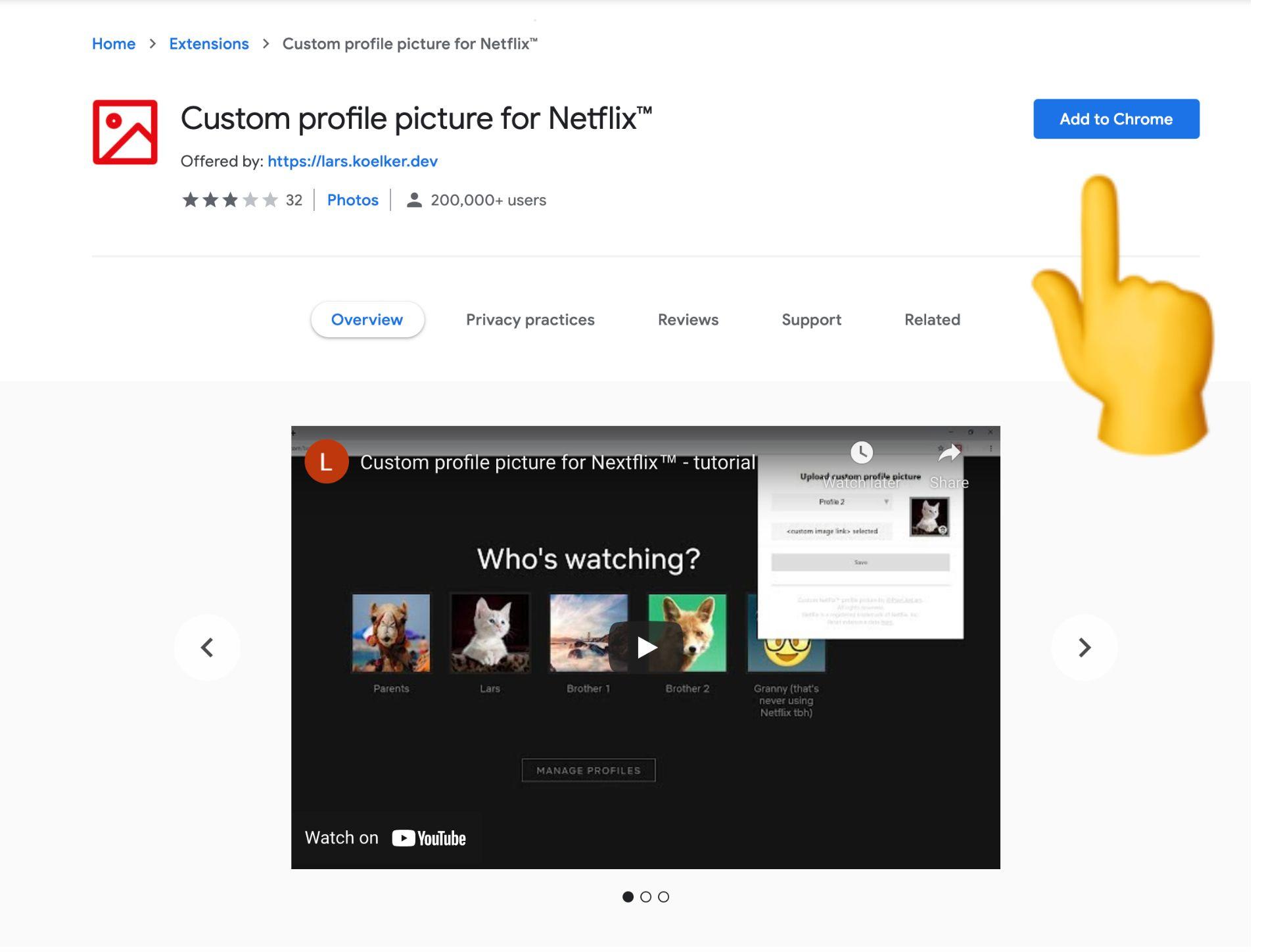 captura de pantalla de la imagen de perfil personalizada para la extensión de Netflix