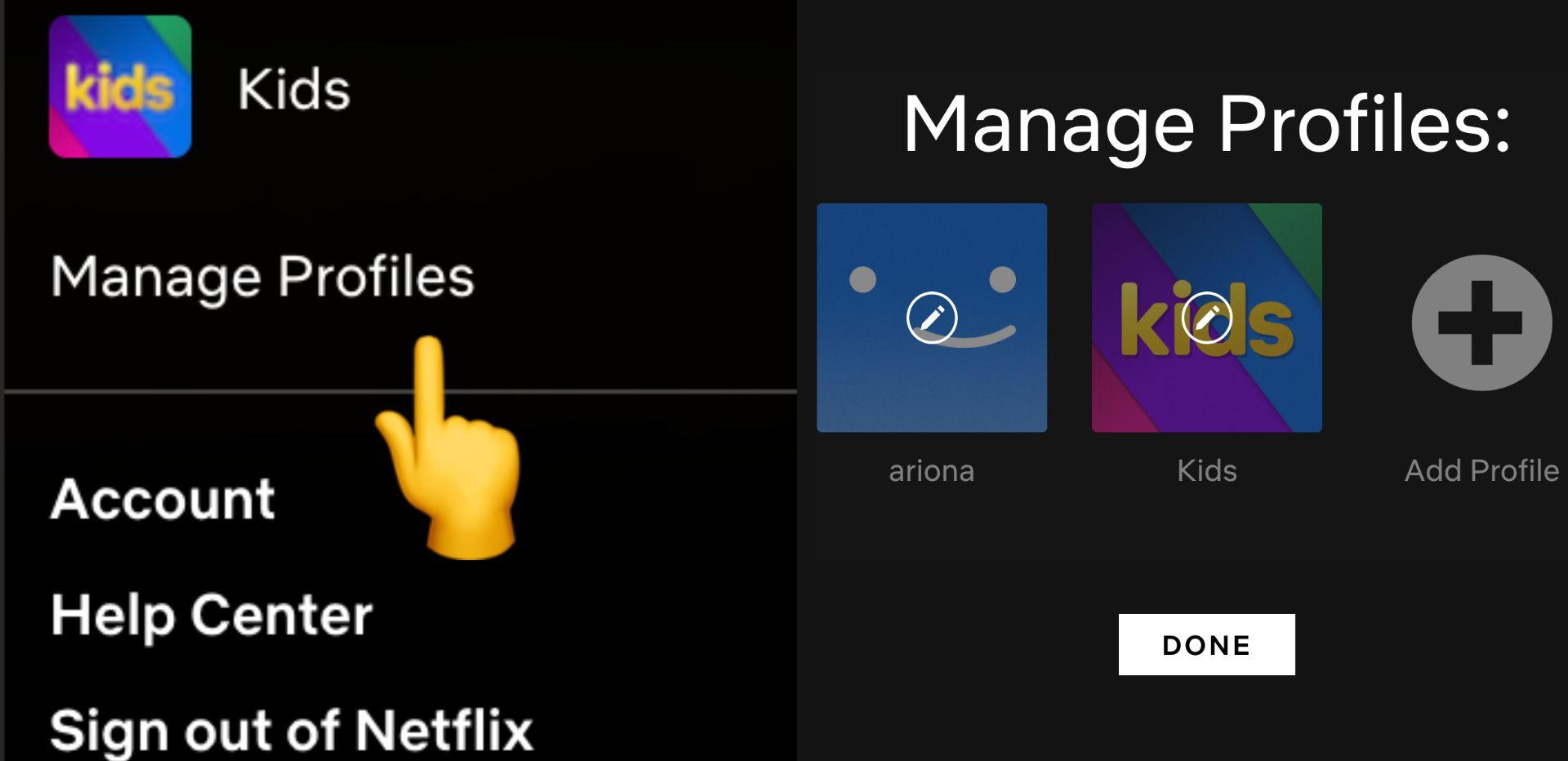 captura de pantalla de la pantalla de Netflix con una flecha que apunta para administrar perfiles