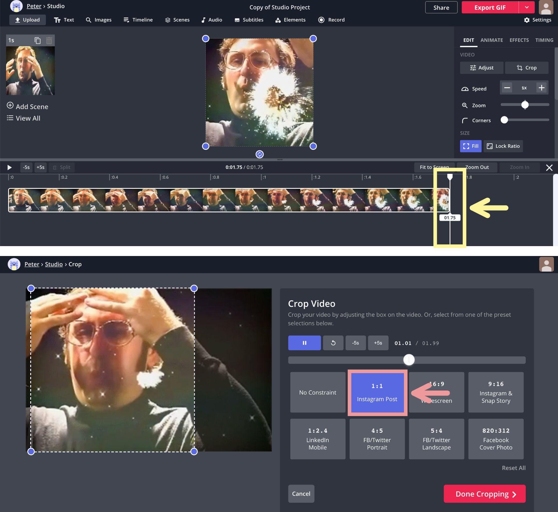 Capturas de pantalla que muestran cómo recortar y recortar videos en Kapwing Studio.