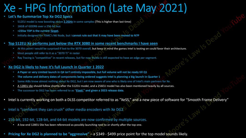 Información de Intel Xe-HPG y especificaciones de rumores. (Fuente de la imagen: la ley de Moore está muerta)