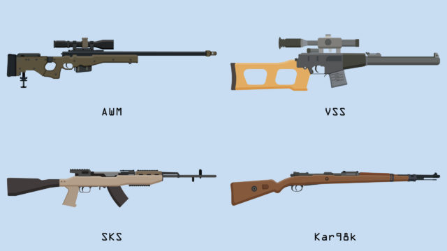 Battlegrounds Mobile India Rifles de francotirador - Tabla de daños por armas