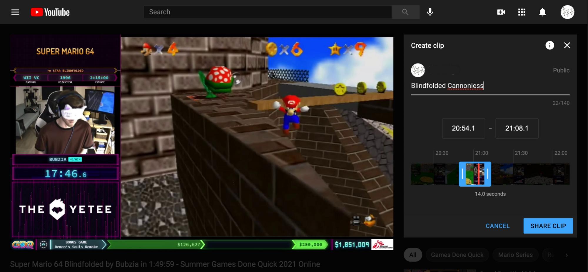 Una captura de pantalla que muestra cómo seleccionar un clip en YouTube.